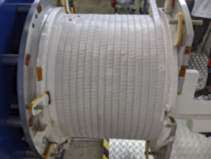 Fig. 1: Production inner-PF coil with two of four layers fully wound.