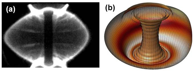 (a) fast camera image of MAST plasma (21436, t ~ 0.28s) displaying an RWM and (b) theoretically computed n = 1 RWM eigenfunction of unstable plasma 7090.